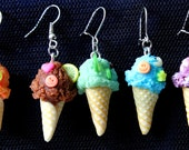 Polymer Ice Cream Scoop. Summery Earrings.