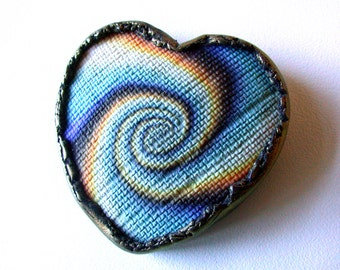 Spiral Polymer Clay Heart Brooch.