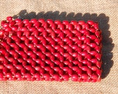 Change Pouch - A 1930's  Wooden zippered beaded pouch - Made in Czechoslovakia.