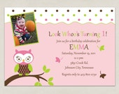 Printable INVITATION - Owl Party Collection with Photo - DIY Printable by The Splendid Shindig