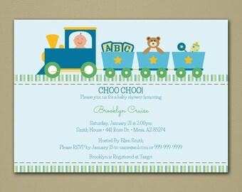 Train Baby Shower Invitation - Baby Boy - Personalized DIY Printable Digital File