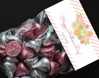 Personalized Happy Mother's Day Treat Bag Topper - DIY Printable Digital File