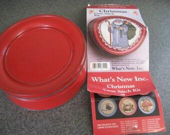 What's New Christmas Decorative Tin Cross Stitch Kit  Vintage 1980s