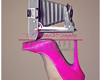 Fine Art Photography - 20x30 Canvas Gallery Wrap - Agfa vintage camera on hot pink high heel