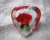 Pretty Vintage Lucite Heart with Rose Brooch