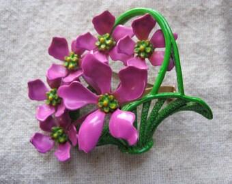 Beautiful Vintage Fuschia  and Green Enamel Flower Basket Brooch
