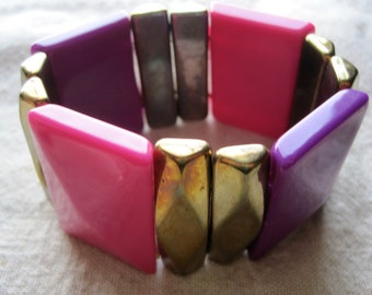 Vintage Purple, Pink & Gold Plastic Stretch Bracelet