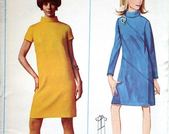 """Butterick Dress Pattern No 4575 UNCUT Vintage 1960s Size 16 Bust 36"""" Long or Short Sleeves Diagonal Seaming Back Zipper Slim Semi Fitted"""