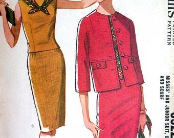 "McCalls Dress Pattern No 6522 UNCUT Vintage 1960s Size 10 Bust 31"" Sleeveless Blouse Top Slim Skirt Overblouse Short Jacket"