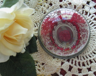 Red Silk Rose Glass Paperweight