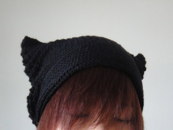 Cat Ear Beanie in Black Crochet Hat Women Hat Cat by ...