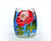 Hand Painted Glass Vase, Candle Holder - Decorative Glass ART