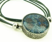 Orgone Energy Mens/Unisex Necklace - Large Double Sided Pendant - Antique Silver w/Lapis Lazuli - Leather Necklace - Artisan Jewelry