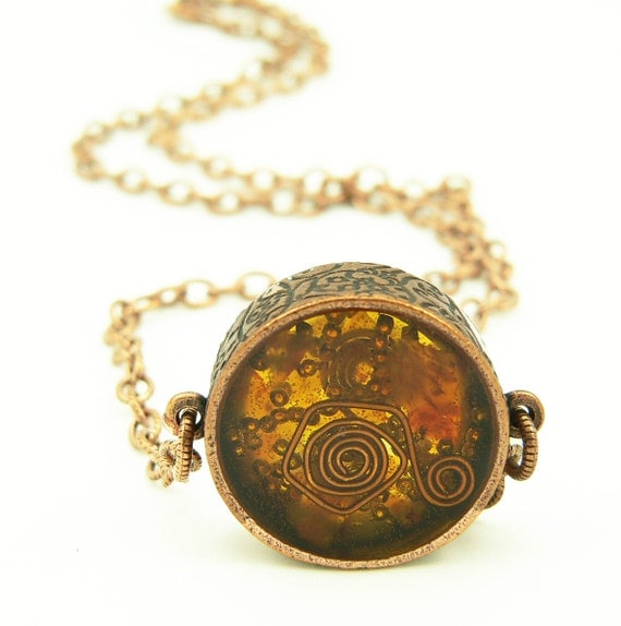 orgone energy pendant sided antique copper with