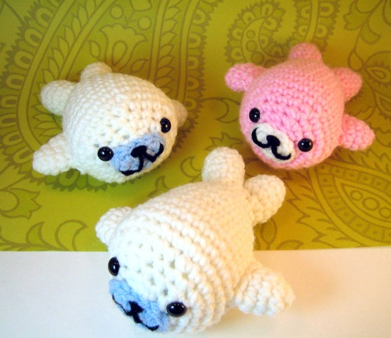 Super Kawaii Mamegoma Seals Amigurumi Crochet Plush Animals