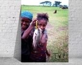 A Mighty Catch, Ethiopia Africa, International Travel, Portrait of Village Girls with Fish Dinner 9x12 Rural Photograph