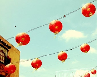 IN STOCK Chinatown Red Lanterns, Paper Lanterns on Wire, Downtown Los Angeles 8x8  Fine Art Travel Photograph