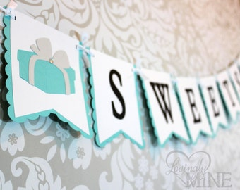 Sweets Banner Sign in Light Teal, White, Light Gray and Black - Dessert Table Decor - Robin Egg Blue - Aqua - Designer Inspired