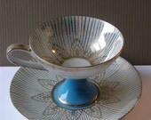 Royal Halsey Lusterware Pedestal Teacup and Saucer Gold and Turquoise