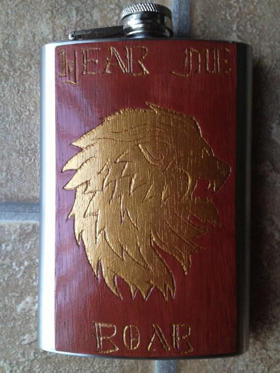 Hand-Carved Lion's Helm Flask of House Lannister 8oz