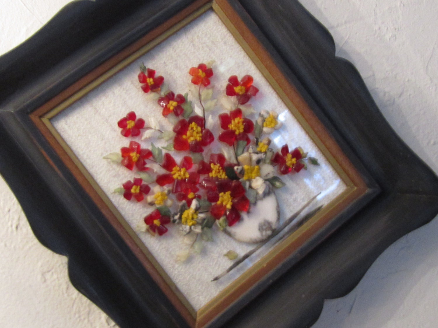 Resin art floral arrangement 60s wall decor updated by for Resin wall art