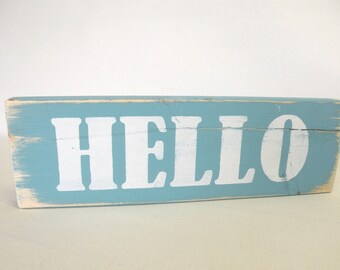 HELLO Wooden Sign Home Decor Accessory in Turqouise and White