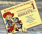 Cowgirl Birthday Party Invitation - Vintage Retro Invitation - Printable Custom Birthday Invite DIY 5x7 or 4x6 Digital JPEG and PDF Files