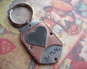 Valentines Day Unique Pet Id Tag - Copper - Nickel Silver - Aluminum - Wire Wrap - Pet Id Tag - Dog Tag - Medium to Large Breed Dog