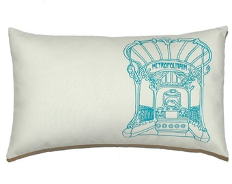 "Paris Art Nouveau Entrance Metro ""Metropolitan"" Pillow Cover, Emerald Applique on Off French White Cotton Canvas - More Sizes Avalaible"