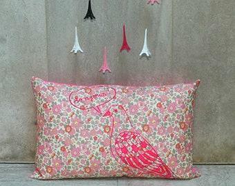 Neon Pink Bonjour Parisien Pigeon Printed on Light Betsy Liberty Fabric Pillow Cover