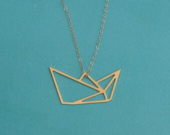 Paper Boat Gold Necklace, Origami Boat Jewelry, Minimal Unique Necklace , Boat charm , Girlfriend Gift , Birthday Gift , Boat Jewelry