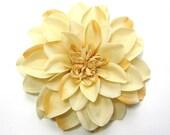 Fabric Flower Hair Accessory: Pin, Hair Clip, or Fascinator - Dark Cream Dahlia