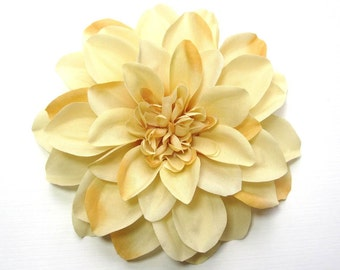 Fabric Flower Hair Accessory: Pin, Hair Clip, or Fascinator - Dark Cream Dahlia