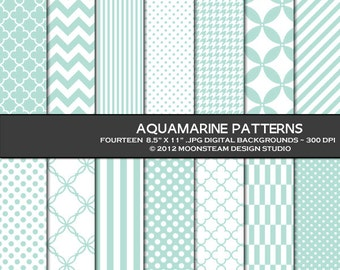 Aquamarine Digital Backgrounds, Aquamarine Digital Paper, 8.5x11 or 12x12 or A4, Personal or Commercial Use