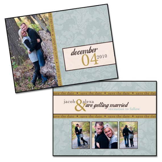 """VINTAGE BLUE - 5x7"""" Double Sided Save The Date Card Template, Digital File"""