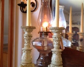 Cream Colored Baroque Candlestick Pair- FREE SHIPPING- ND152