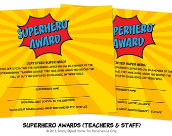 INSTANT Superhero Awards - Teacher and Staff Appreciation Week Printables