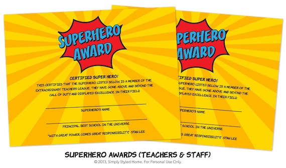 INSTANT Superhero Awards Teacher and Staff by SimplyStyledHome