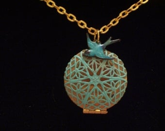 Aqua Turquoise Patina Brass Filigree Bird Nest  Locket Necklace, Blue Bird Charm