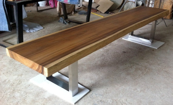 Live Edge Bench Table Reclaimed Acacia Wood Solid Slab