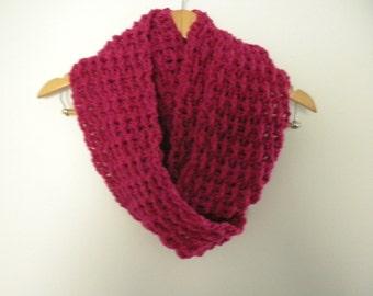 Crochet Scarf Rose Hot Pink  Raspberry Soft Scarf Infinity Handmade Chunky Thick Neckwarmer
