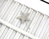 lucky star hair pin / silver german glass star bobby pin /  glitter hair accessory