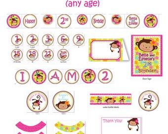 Monkey Love Printouts - Birthday 1 year old 2 years old girl 1st birthday party or 2nd birthday Party (DIY Printable PDF)