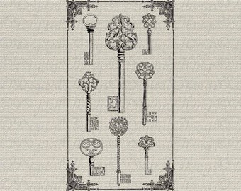 Antique Keys Vintage Keys Wall Decor Art Printable Digital Download for Iron on Transfer Fabric Pillows Tea Towels DT554