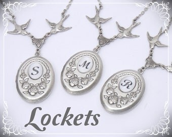 Personalized Necklace SALE. MONOGRAM Locket Best Friend Family Heirloom. Silver Art Deco Wedding Bridesmaids Initial Vintage style