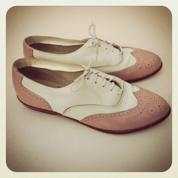 pink white oxford shoes