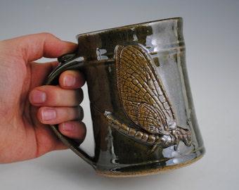 Dark Green Stoneware Mug with Damselfly