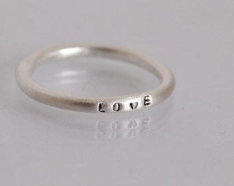 Tiny stamped silver stacking ring / posey ring / personalized skinny initial word ring