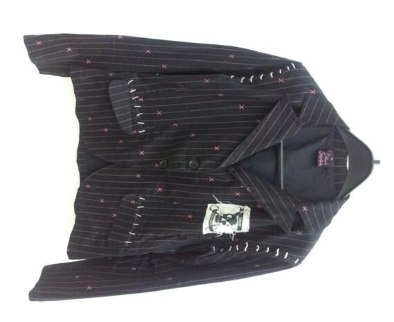 Edward Scissorhands Black Pink Pin Stripe Jacket with Skull Patch & Stitch Detail Goth Alternative Punk
