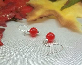 Ruby Red Earrings Jade Earrings Dangle Earrings 100% 925 Sterling Silver BuyAny3+Get1Free